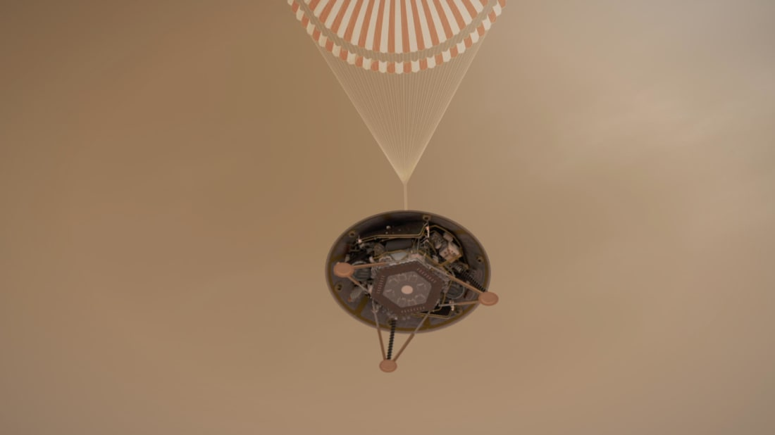 Artist's depiction of NASA's InSight lander parachuting toward the surface of Mars.