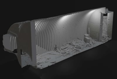 A digital model of the World War II bunker found in Scotland.