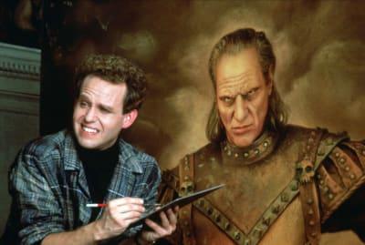Peter MacNicol as Dr. Janosz Poha and Wilhelm as Vigo the Carpathian in Ghostbusters II.