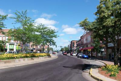 A photo of Main Street in downtown Anoka, Minnesota.
