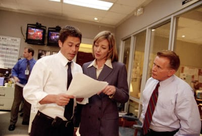 Rob Lowe, Allison Janney, and Martin Sheen in The West Wing.