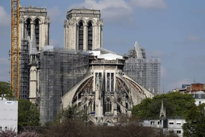 Notre-Dame Cathedral two years after the fire on April 15. 2019.