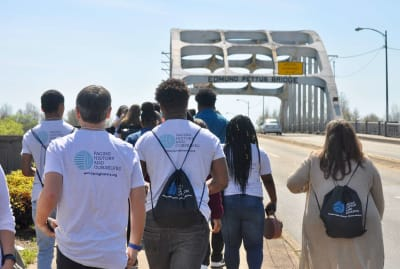 Facing History and Ourselves students visit the Edmund Pettus Bridge in Selma, Alabama.