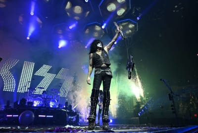 Paul Stanley of Kiss brandishes his mangled axe at a New York concert in 2019.
