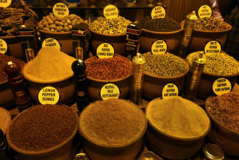 A stand at the Spice Bazaar in Istanbul, Turkey.