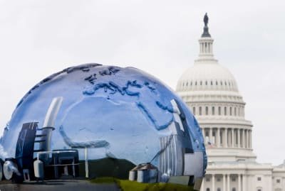 There are countless demonstrations and gatherings worldwide on Earth Day. Pictured above is a public art piece that was displayed in Washington, D.C. in 2008.