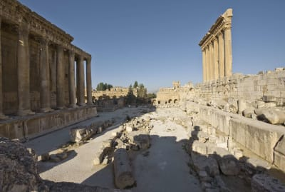 The ruins of the Temple of Bacchus and the Temple of Jupiter at Baalbek.