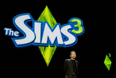 Rod Humble introducing the new Sims 3 game at an EA press briefing before E3.