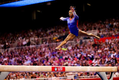 Simone Biles performs at the U.S. Olympic trials in St. Louis.