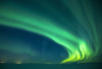 The Northern Lights above Hotel Rangá in Hella, Iceland.