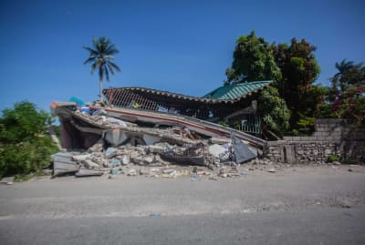A building destroyed by the earthquake in Les Cayes, Haiti.
