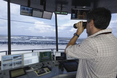While some air traffic controllers work at airports, others have off-site positions.