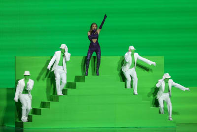 Greece's Stefania performing during the second semi-final of the Eurovision Song Contest 2021.