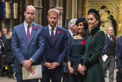 Prince William, Duke of Cambridge; Prince Harry, Duke of Sussex; Meghan, Duchess of Sussex; and Catherine, Duchess of Cambridge at Westminster Abbey in 2018.