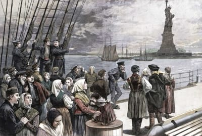 A 19th-century illustration of immigrants arriving at Ellis Island. Or are they emigrants?