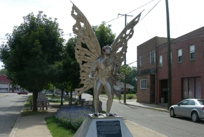 The Mothman statue in Point Pleasant, West Virginia.