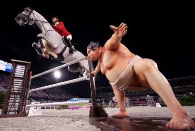 Japanese equestrian Koki Saito competes at the Tokyo Olympics.