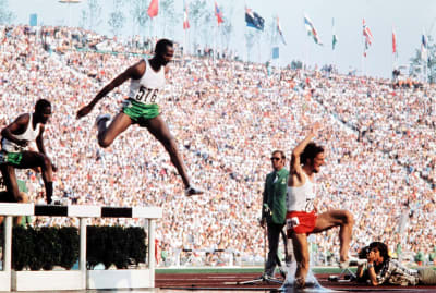 Kipchoge Keino competing in men's 3000-meter steeplechase final at the 1972 Olympic Games.