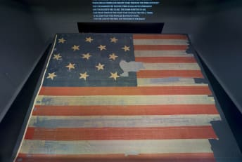 The actual star-spangled banner is displayed at the National Museum of American History.