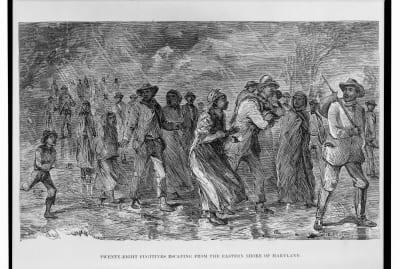 An illustration depicting fugitives along the Underground Railroad in Maryland, taken from William Still's 1872 book The Underground Railroad.