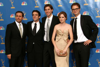 "Cast members of The Office after winning an Emmy for ""Outstanding Comedy Series"" in 2006"