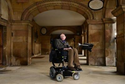 Stephen Hawking at Cambridge's Emmanuel College in 2013.