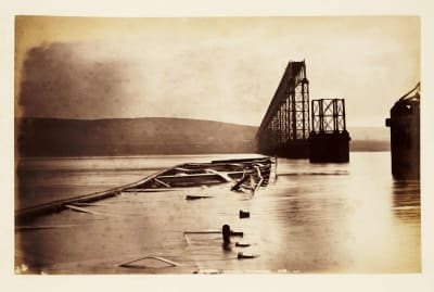 The Tay Bridge after its collapse.