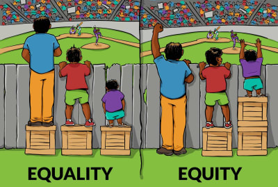 The young man in the purple knows just how important the difference between equality and equity can be.