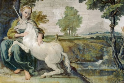 A 1602 fresco by Domenichino showing Giulia Farnese with a unicorn.