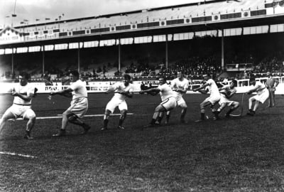 The U.S. tug-of-war team at the 1908 London Olympics.