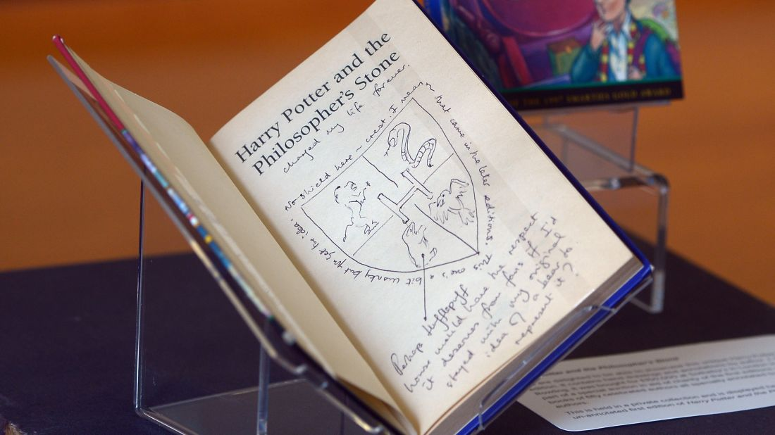 Another inscribed first-edition Harry Potter book, shown at The National Library of Scotland in Edinburgh in 2017