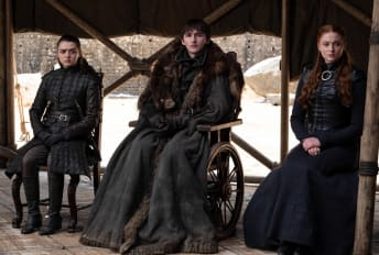 Maisie Williams, Isaac Hempstead Wright, and Sophie Turner in Game of Thrones