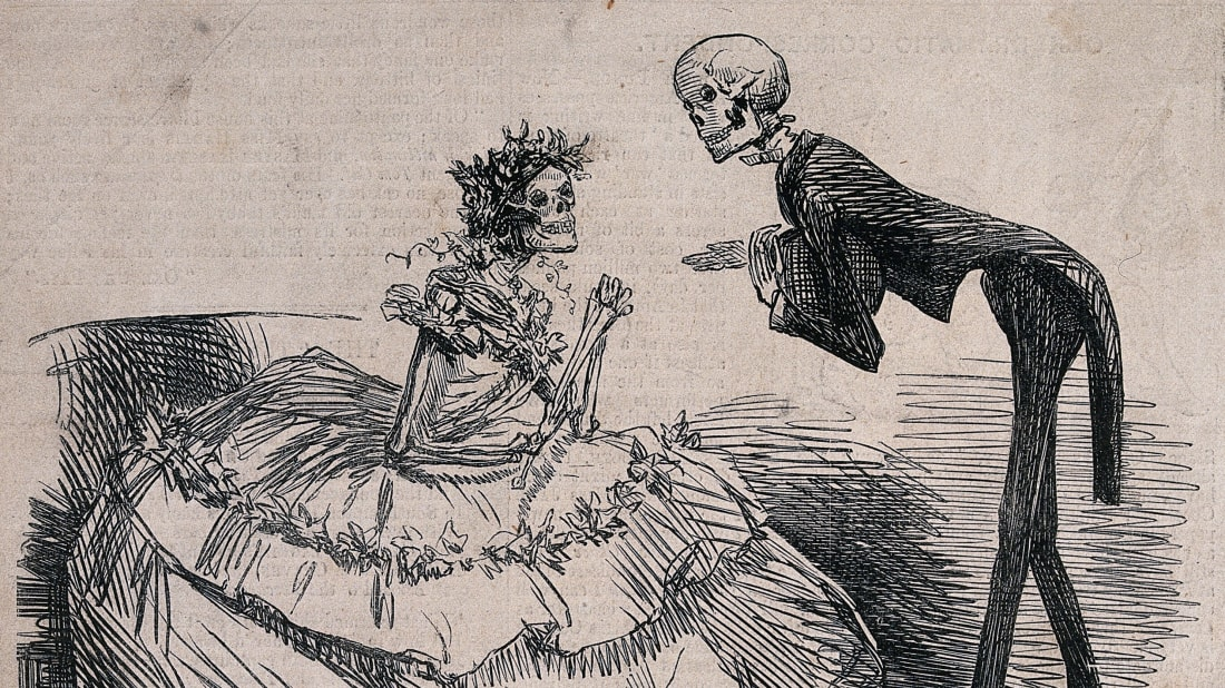 An 1862 engraving showing a skeleton gentleman at a ball asking a skeleton lady to dance, meant to represent the effect of arsenic dyes and pigments in clothing and accessories.