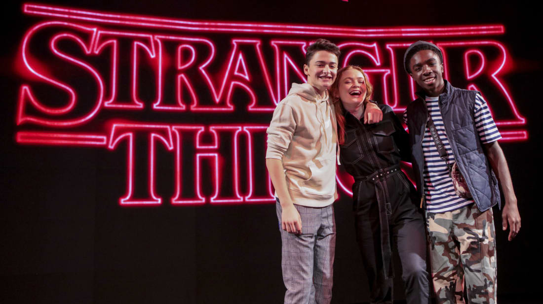 Actors Noah Schnapp, Caleb McLaughlin, and Sadie Sink pose after a 'Stranger Things' panel at Argentina Comic Con 2018