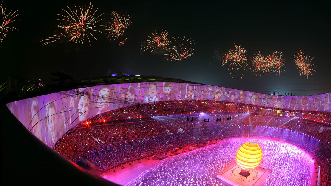 A scene from the Opening Ceremony of the 2008 Summer Olympics in Beijing.