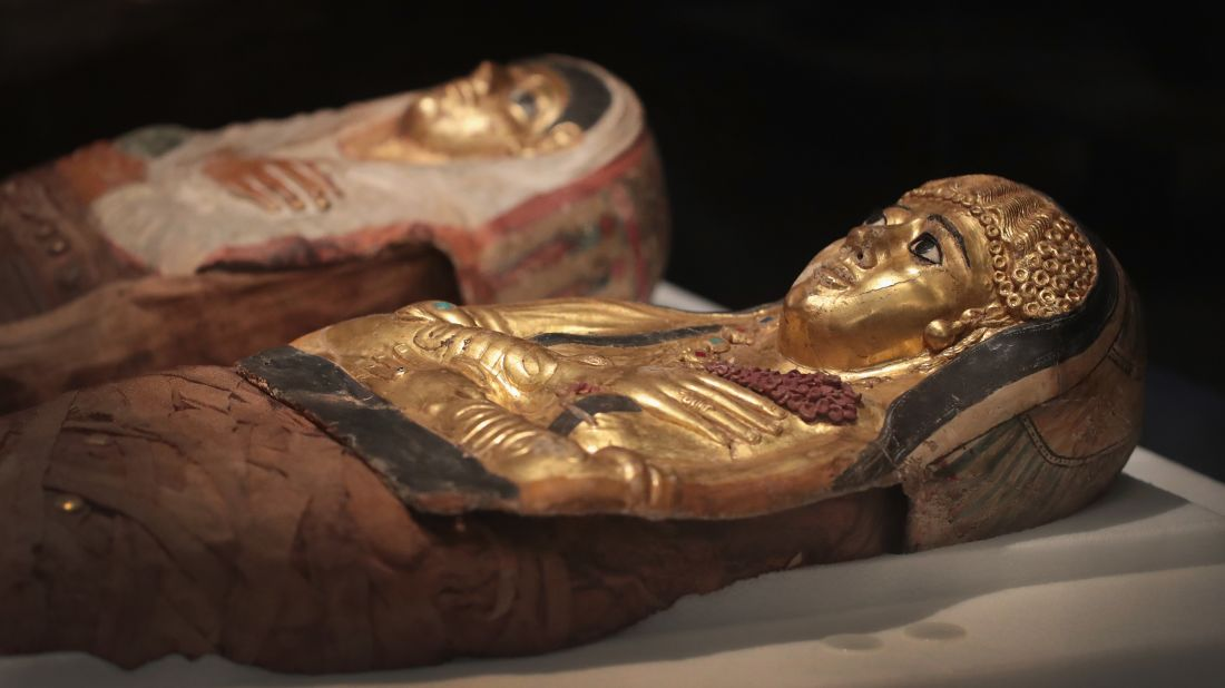 Coffins holding mummies on display at the Field Museum in Chicago
