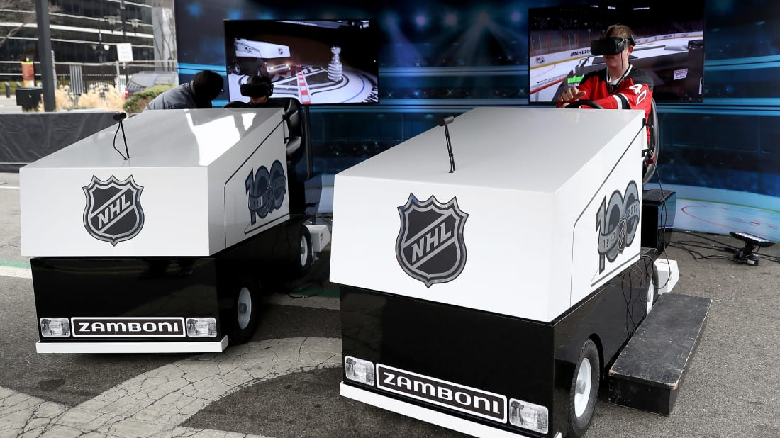 A fan takes part in the virtual Zamboni ride.