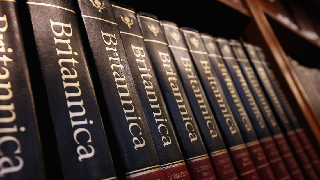 Encyclopedia Britannica volumes on display at the New York Public Library