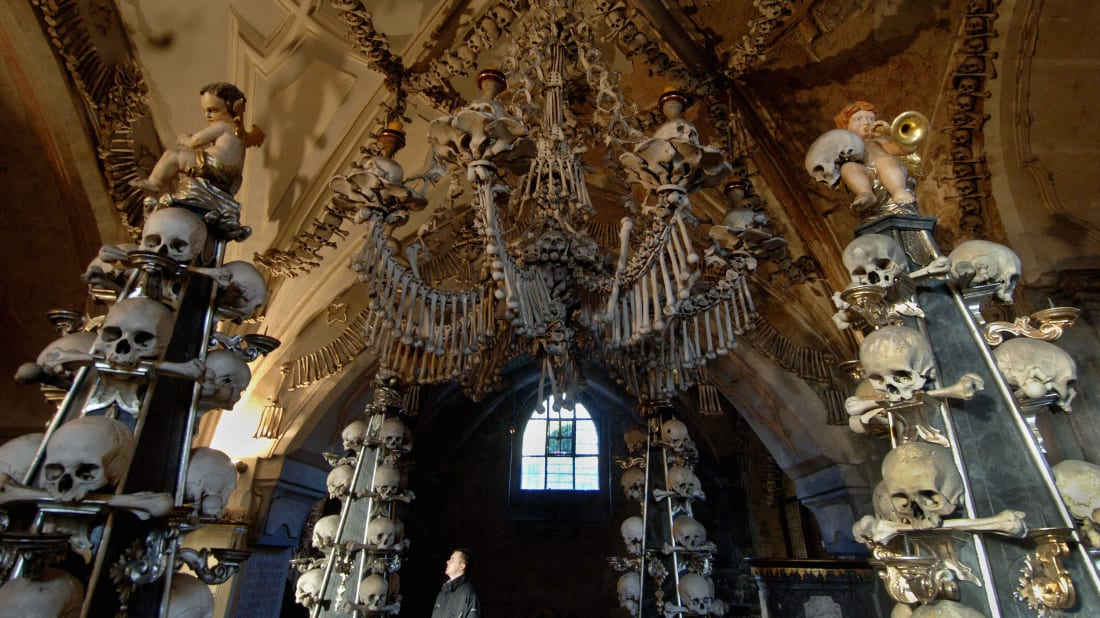 Decorations in the Sedlec Ossuary, a small chapel beneath the Cemetery Church of All Saints in Sedlec, a suburb of Kutna Hora in the Czech Republic