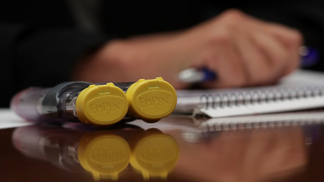 Brand-name EpiPens at a Congressional hearing on the escalating cost of the drug in 2016