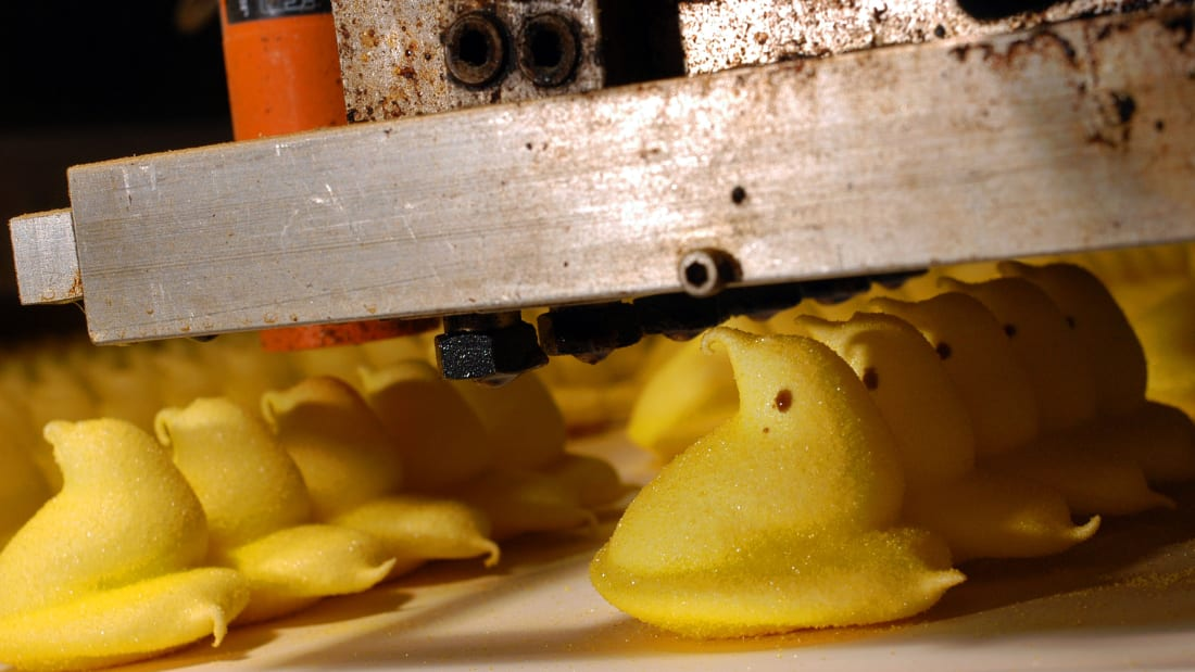 The eyes are printed onto marshmallow Peeps at the factory in Bethlehem, Pennsylvania.