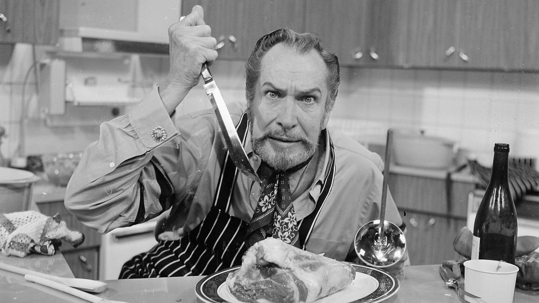 Actor Vincent Price at London's Thames TV studios in July 1970.