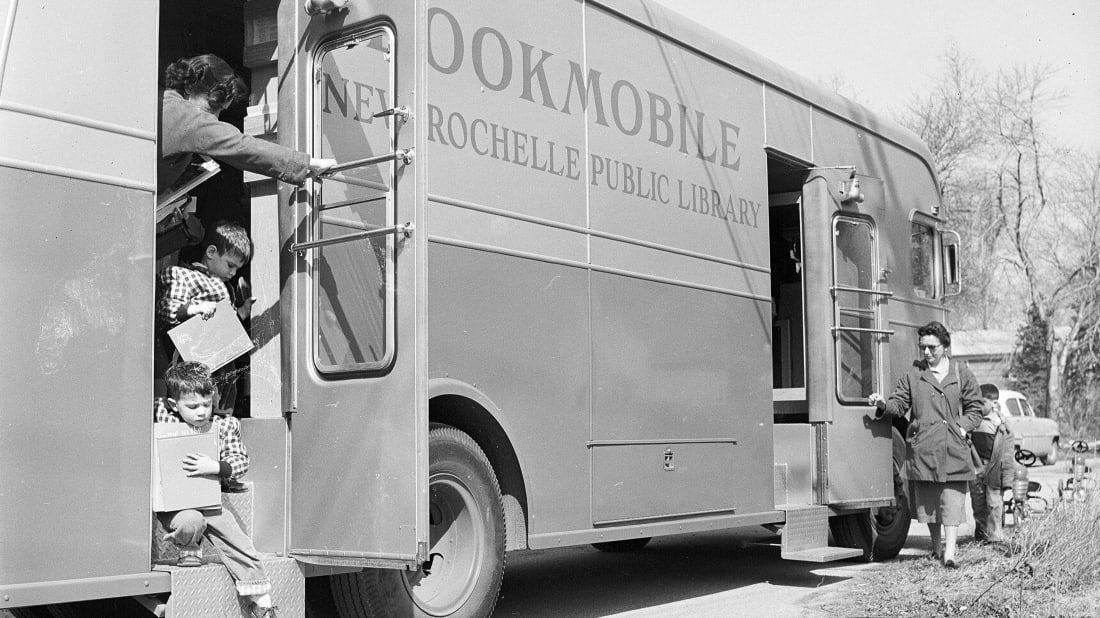 An American 'Bookmobile' mobile library circa 1955