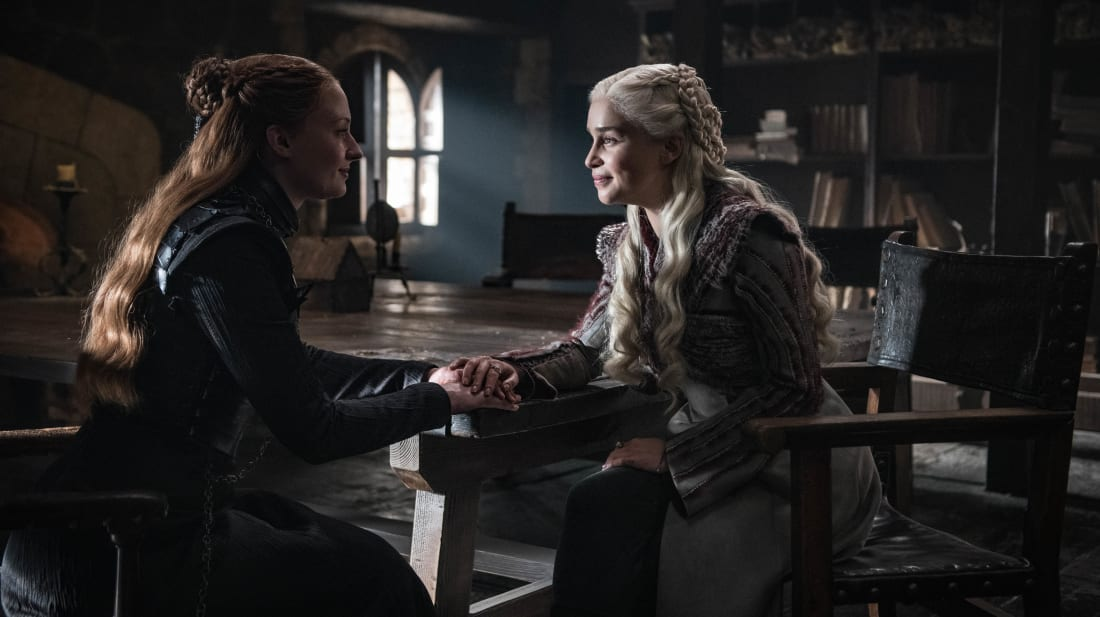 Sophie Turner and Emilia Clarke in Game of Thrones Season 8