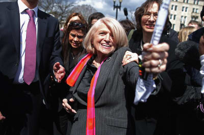 Edith Windsor leaving the Supreme Court after hearings in 2013.
