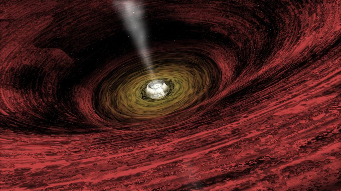 An artist's rendering of a growing supermassive black hole