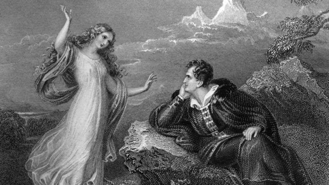 English Romantic poet Lord Byron being visited by his muse.