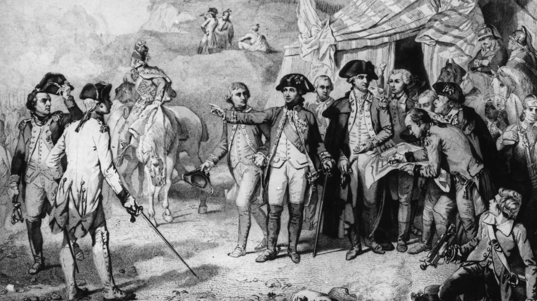 Generals Rochambeau and Washington give the last orders for attack at the siege of Yorktown. With them is the Marquis de Lafayette. Circa 1781.