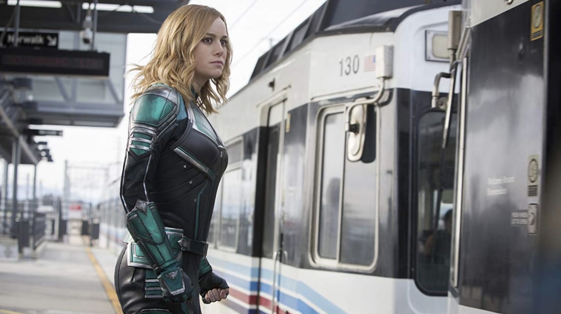 Brie Larson stars in Captain Marvel (2019).