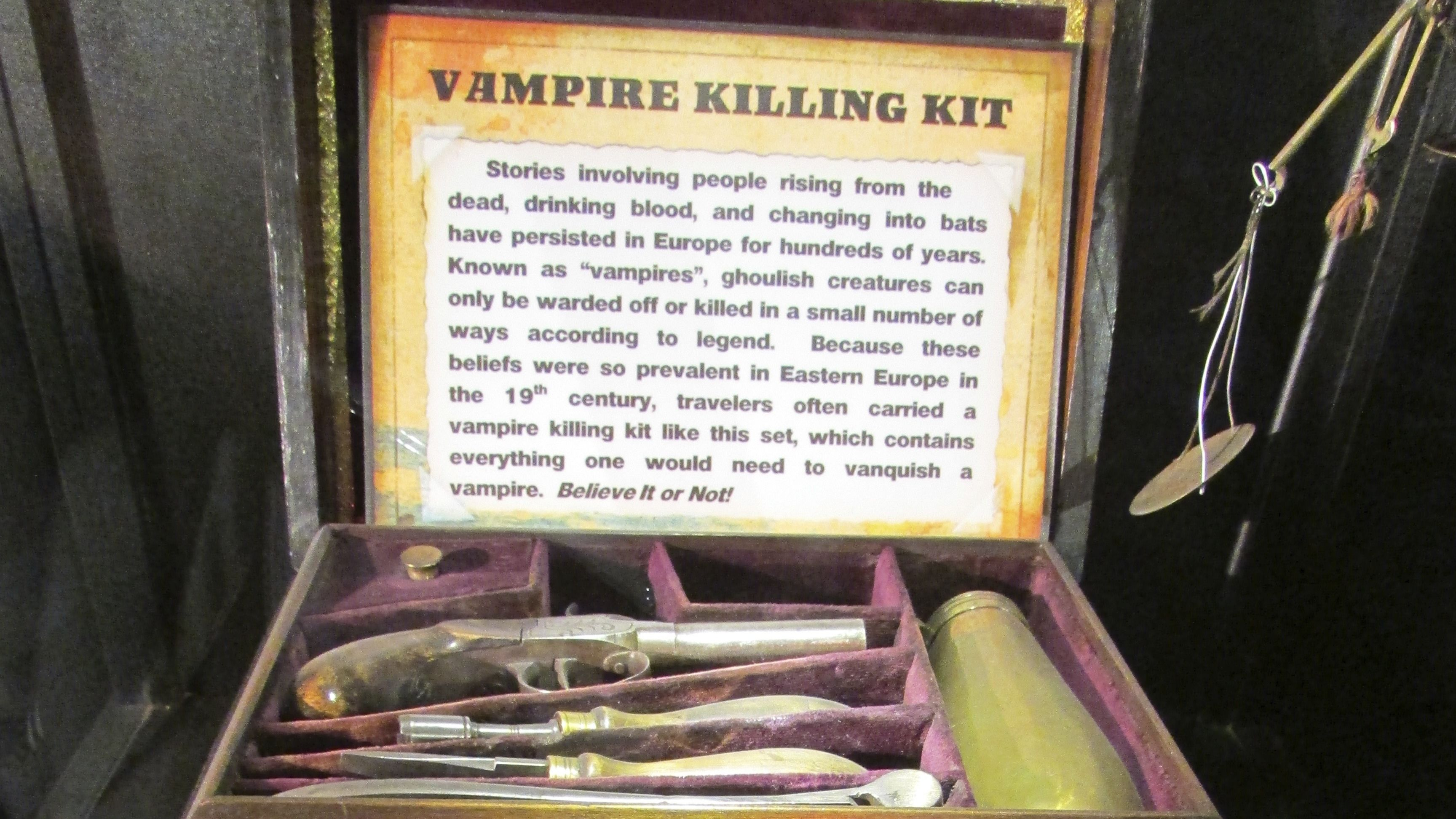 A vampire killing kit at Ripley's Believe It or Not! in San Francisco